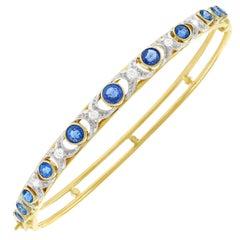 Antique Diamond and Sapphire Bangle Bracelet