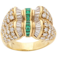 1990s Emeralds Baguette with Round Diamonds Double Bow Design Gold Cocktail Ring