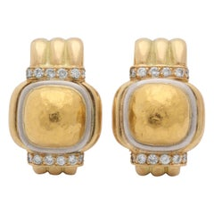 Chaumet Paris Hand-Hammered and High Polish Gold and Diamonds Earclips
