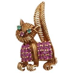 Tiffany & Co. 1950s Ruby and Emerald Whimsical Kitty Cat Gold Brooch