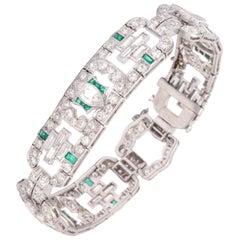 Art Deco 1920s Flexible Emerald with Diamonds Platinum Open Link Bracelet