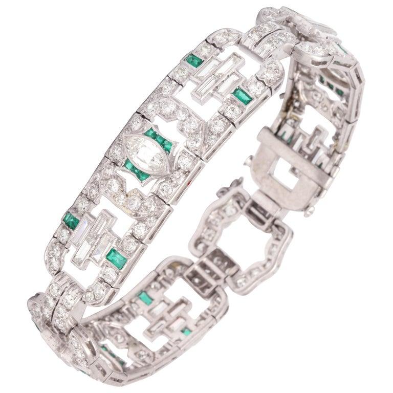 Art Deco 1920s Flexible Emerald with Diamonds Platinum Open Link Bracelet For Sale