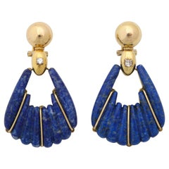 1970s Lapis Lazuli and Diamond Moveable Hanging Gold Doorknocker Earrings