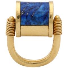 1980s Cellini Padlock Design Reversible Lapis Lazuli and Gold Rolltop Ring