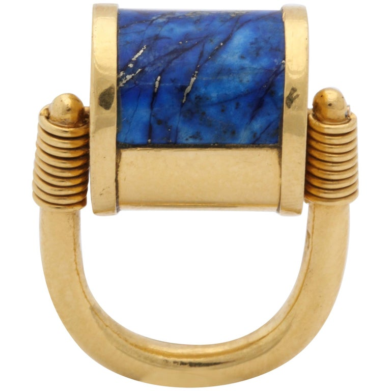 1980s Cellini Padlock Design Reversible Lapis Lazuli and Gold Rolltop Ring For Sale