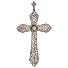 Art Deco Reticulated Diamond Platinum Cross with Diamond Bail