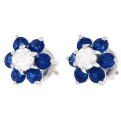 Sapphire and Diamond Stud Gold Earrings