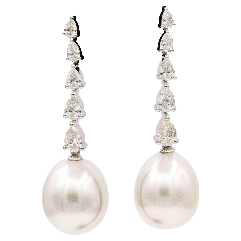 South Sea Diamond Drop Earrings, 1.40 Carat 18 Karat