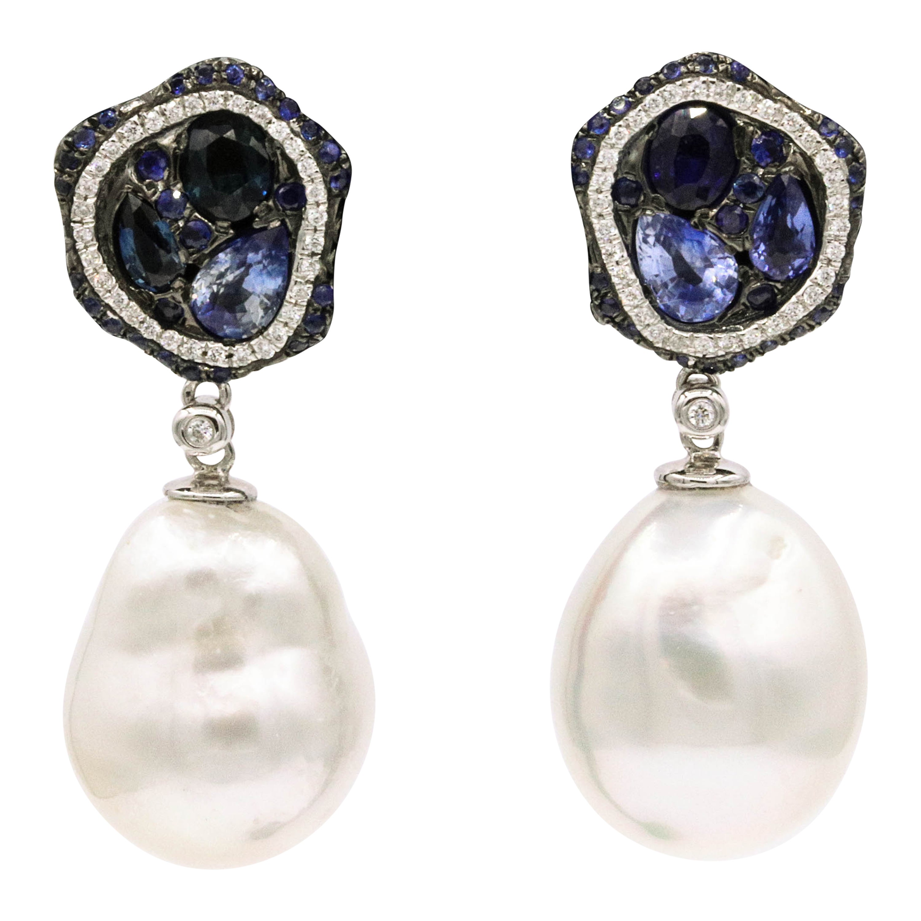 Sapphire Diamond Pearl Drop Earrings 18 Karat White Gold
