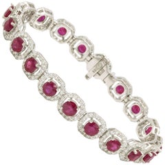 Ruby Diamond Halo Bracelet 15.35 Carat 18 Karat White Gold