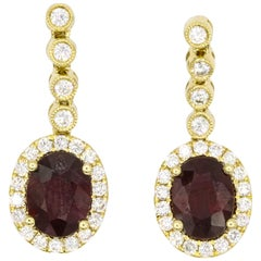 Ruby Diamond Drop Earrings 3.46 Carat 18 Karat Yellow Gold