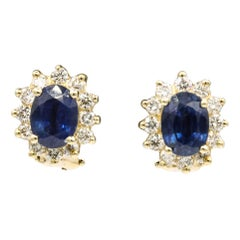 Sapphire Diamond Halo Stud Earrings 4.14 Carat 14 Yellow Gold