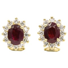 Ruby Diamond Halo Stud Earrings 3.84 Carat Gold