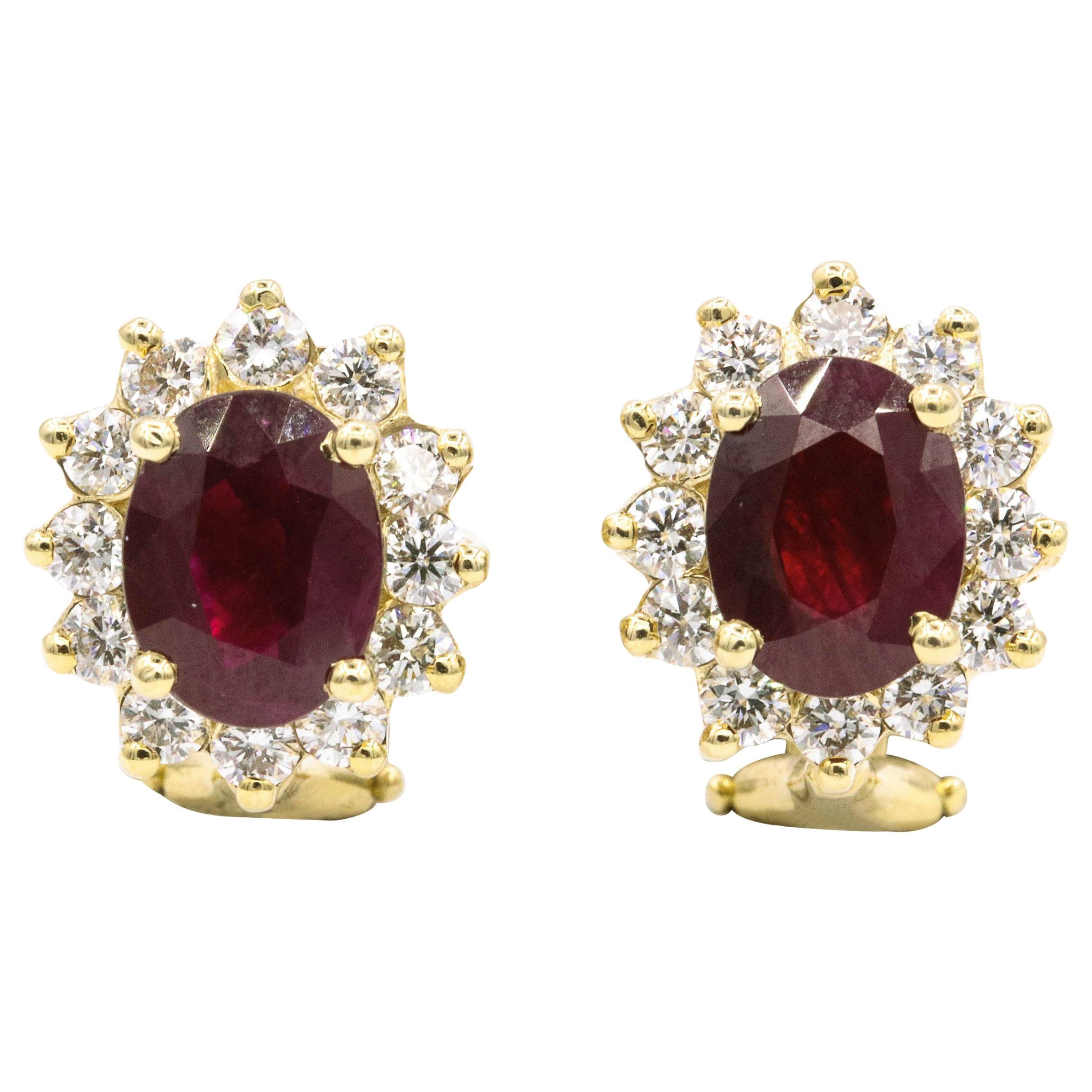 Ruby Diamond Halo Stud Earrings 3.84 Carat Gold