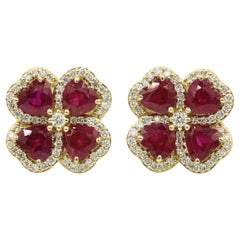 Heart Shape Ruby Diamond Clover Earrings 2.51 Carat
