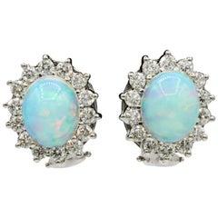 Opal Diamond Floral Stud Earrings 4.96 Carat