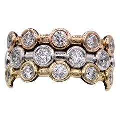 2.46 Carat Diamond Tri-Color Stackable Rings