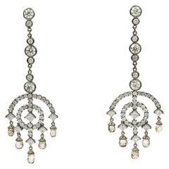 12.93 Carat Deco Style Diamond Drop Earrings