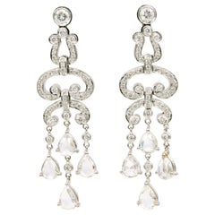 4.41 Carat Diamond Drop Round and Pear Shape Earrings