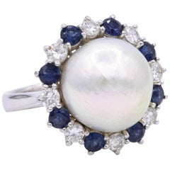 GIA Certified Pearl Diamond Sapphire Ring Platinum