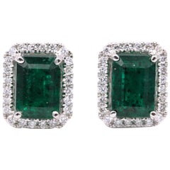 Emerald Diamond Halo Stud Earrings 2.52 Carat 14 Karat White Gold
