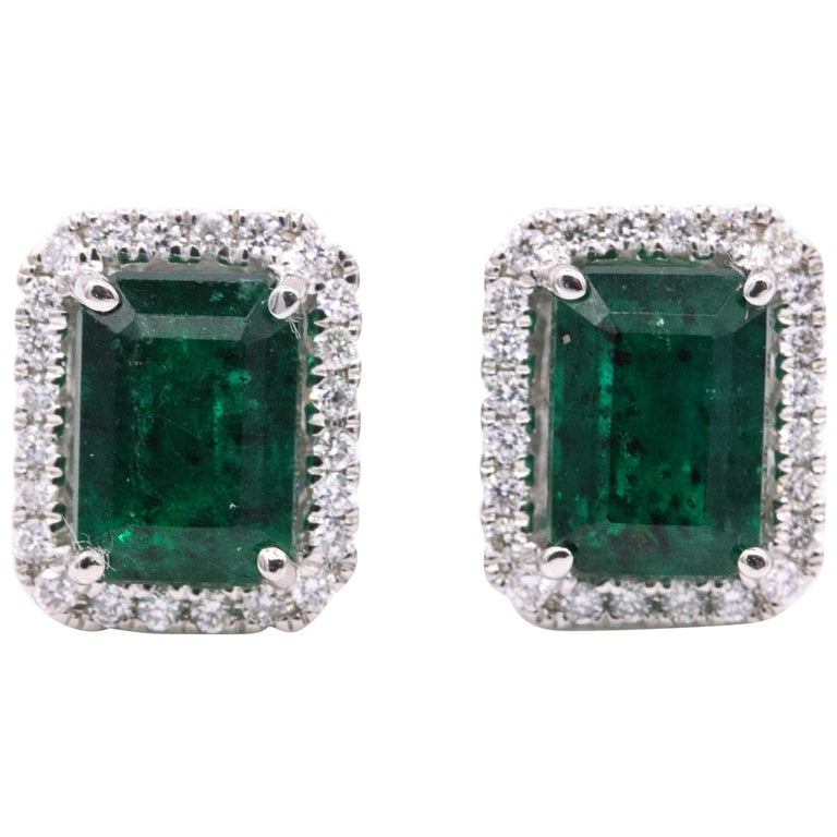 Emerald Diamond Halo Stud Earrings 2.52 Carat 14 Karat White Gold For Sale