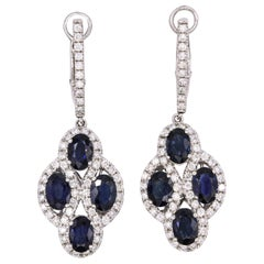 Sapphire Diamond Drop Earrings 6 Carat 14 White Gold