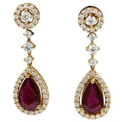 Ruby Diamond Drop Earrings 4.69 Carat 18 Karat Rose Gold