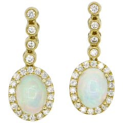 Opal Diamond Halo Drop Earrings 2.32 Carat 14 Karat