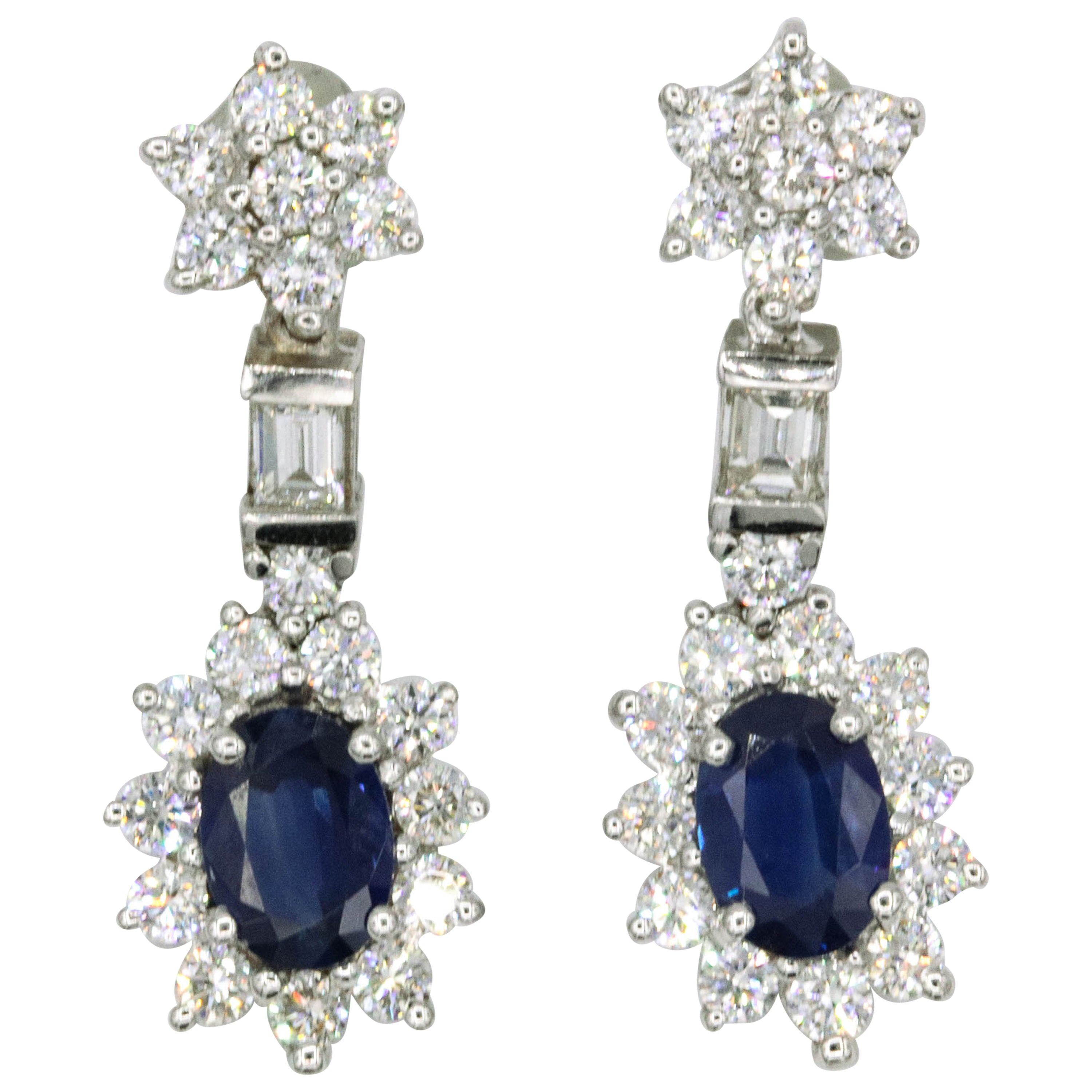 Sapphire Diamond Cluster Drop Earrings 3.63 Carat 18 Karat White Gold