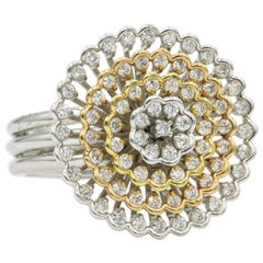 Tri-Color Diamond Floral Ring 0.88 Carat 18 Karat