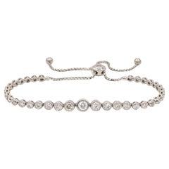 Expandable Diamond Bracelet 2 Carats 14 Karat White Gold