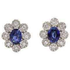 Sapphire Diamond Floral Earrings 4.26 Carat