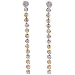 Tri-Color Gold Diamond Drop Earrings 1.50 Carat