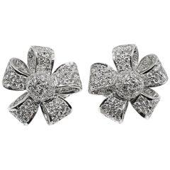Diamond Platinum Ribbon Earclips