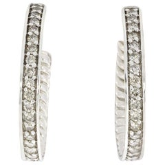 David Yurman Sculpted Cable Diamond Hoop Earrings