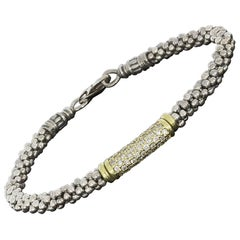 Lagos Classic Caviar Gold and Silver Pave Diamond Beaded Bracelet