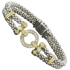 Lagos Enso Circle Game Gold and Silver Diamond Double Strand Caviar Bracelet
