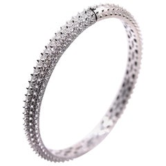 3.5 Carat White Diamond Spike Bangle Bracelet with Hinge in 18 Karat White Gold
