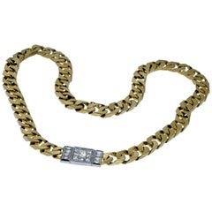 Wide 14 Karat Yellow Gold Curb Link Chain Set with 2.50 Carat of Diamonds