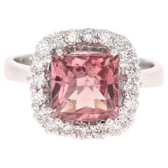 3.89 Carat Pink Tourmaline Diamond 14 Karat White Gold Ring