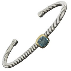 David Yurman Noblesse Gold and Silver Cushion Cut Blue Topaz Cuff Bracelet