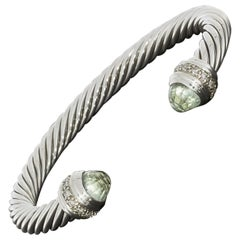 David Yurman Cable Classics Sterling Silver Prasiolite and Diamond Cuff Bracelet