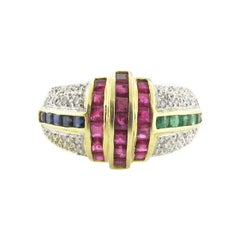 Art Deco Ruby, Emerald, Diamond and Sapphire Ring
