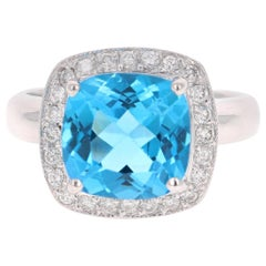5.29 Carat Blue Topaz Diamond 14 Karat White Gold Cocktail Ring