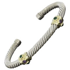 David Yurman Renaissance Amethyst and Chrome Diopside 2 Station Cuff Bracelet