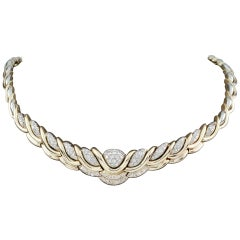 25.5 Carat Diamond Pave 14 Karat Yellow and White Gold Bib Necklace