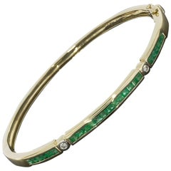 Yellow Gold Princess Cut Emerald and Round Diamond Stackable Bangle Bracelet