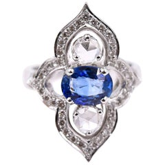 Sethi Couture Blue Sapphire and White Diamond Cocktail Ring in 18 Karat Gold