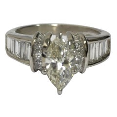 Marquise Diamond Engagement Ring Set in White Gold
